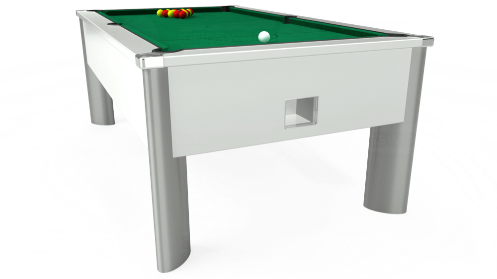7ft Monarch Fusion Free Play Pool Table in White with Hainsworth Elite-Pro American Green cloth delivered and installed - £1,300.00