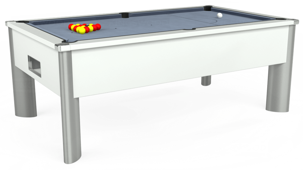 7ft Monarch Fusion Free Play Pool Table in White with Hainsworth Elite-Pro Bankers Grey cloth delivered and installed - £1,300.00