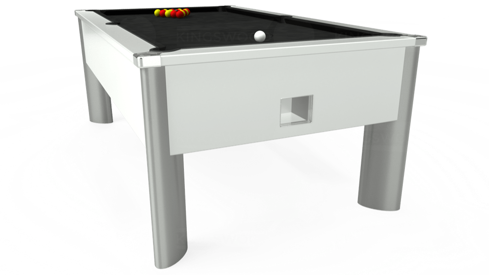 7ft Monarch Fusion Free Play Pool Table in White with Hainsworth Elite-Pro Black cloth delivered and installed - £1,300.00