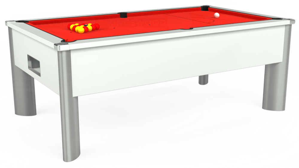 7ft Monarch Fusion Free Play Pool Table in White with Hainsworth Elite-Pro Bright Red cloth delivered and installed - £1,300.00