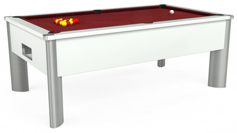 7ft Monarch Fusion Free Play Pool Table in White with Hainsworth Elite-Pro Burgundy cloth delivered and installed - £1,300.00