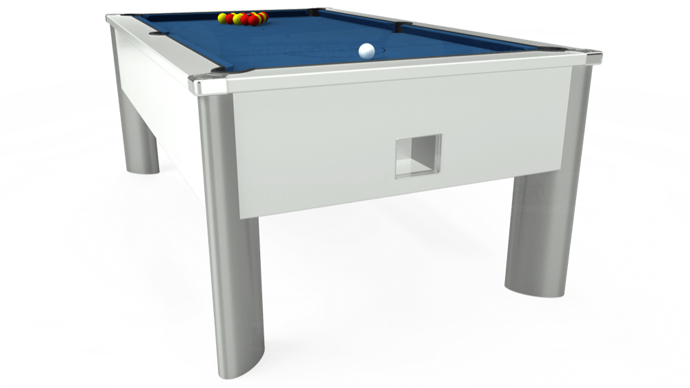 7ft Monarch Fusion Free Play Pool Table in White with Hainsworth Elite-Pro Cadet Blue cloth delivered and installed - £1,300.00