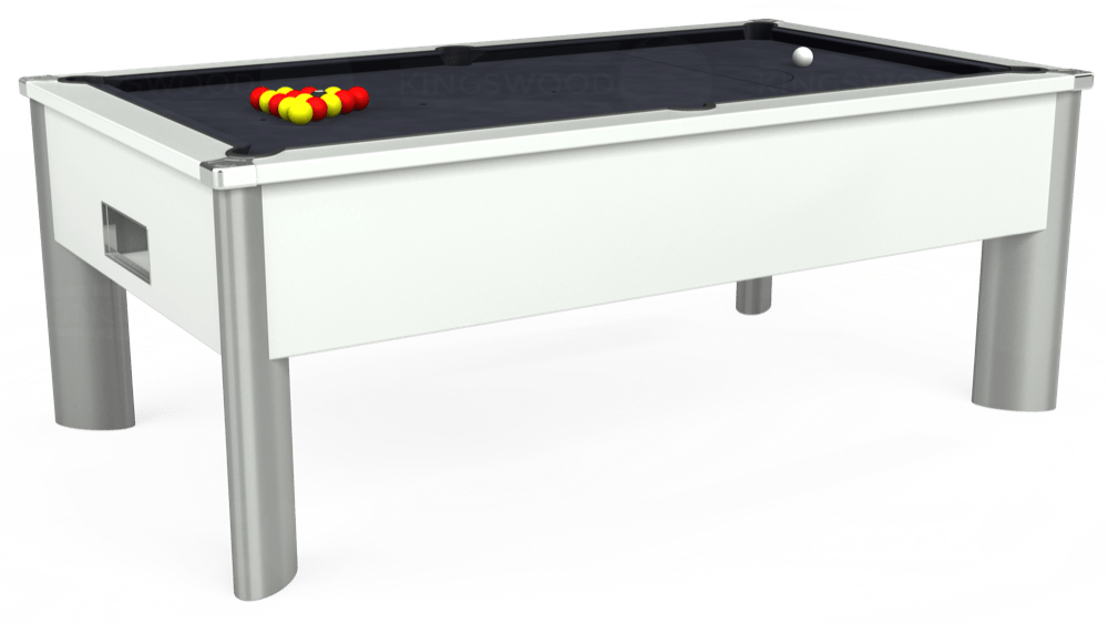 7ft Monarch Fusion Free Play Pool Table in White with Hainsworth Elite-Pro Charcoal cloth delivered and installed - £1,300.00