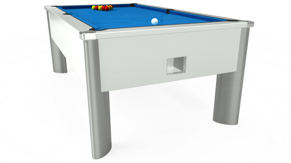 7ft Monarch Fusion Free Play Pool Table in White with Hainsworth Elite-Pro Electric Blue cloth delivered and installed - £1,300.00