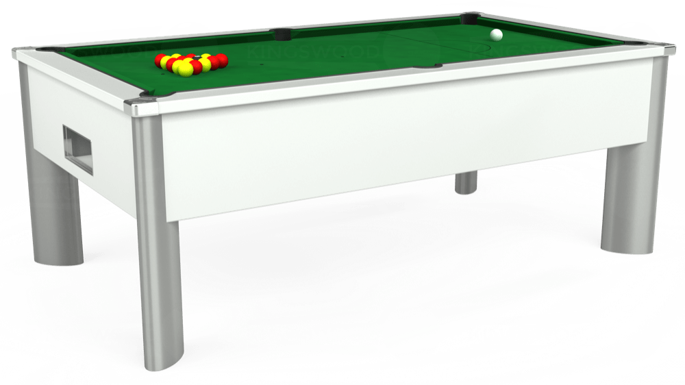 7ft Monarch Fusion Free Play Pool Table in White with Hainsworth Elite-Pro English Green cloth delivered and installed - £1,300.00
