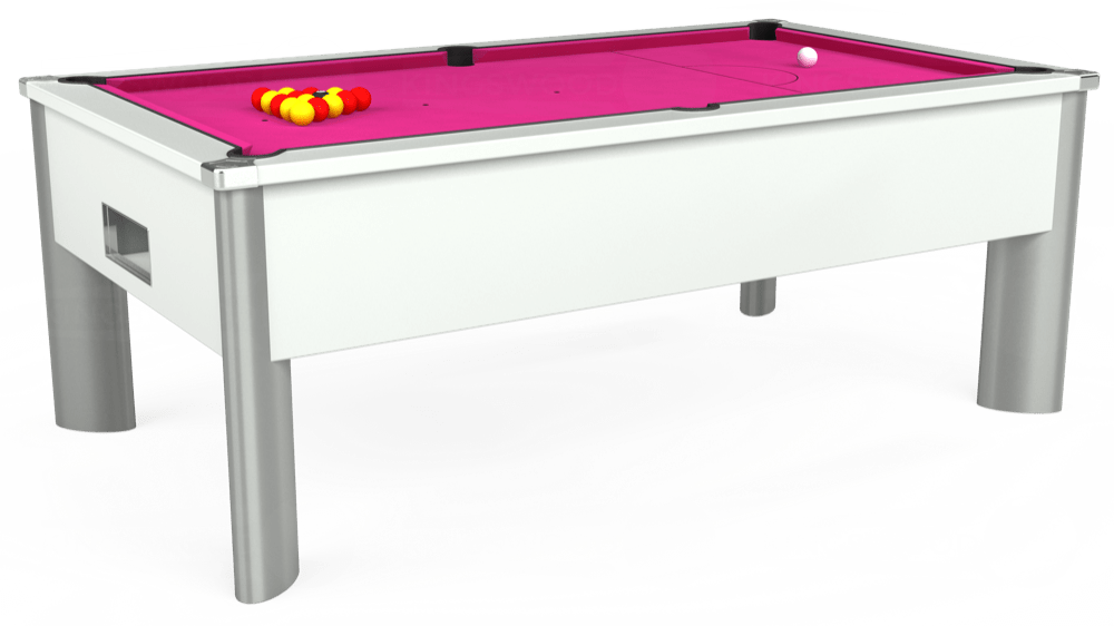 7ft Monarch Fusion Free Play Pool Table in White with Hainsworth Elite-Pro Fuchsia cloth delivered and installed - £1,300.00