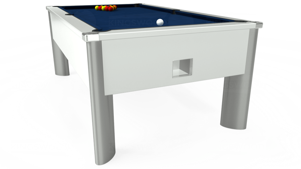 7ft Monarch Fusion Free Play Pool Table in White with Hainsworth Elite-Pro Marine Blue cloth delivered and installed - £1,300.00