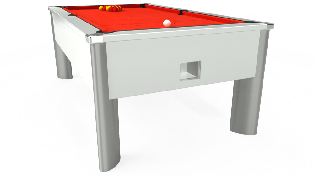 7ft Monarch Fusion Free Play Pool Table in White with Hainsworth Elite-Pro Orange cloth delivered and installed - £1,300.00