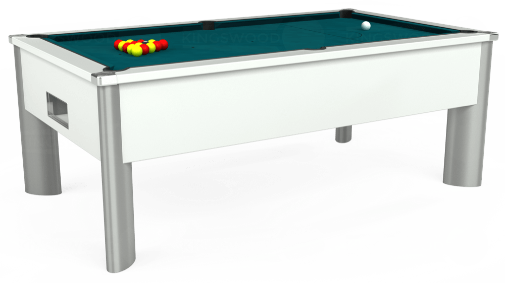 7ft Monarch Fusion Free Play Pool Table in White with Hainsworth Elite-Pro Petrol Blue cloth delivered and installed - £1,300.00