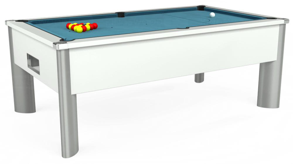 7ft Monarch Fusion Free Play Pool Table in White with Hainsworth Elite-Pro Powder Blue cloth delivered and installed - £1,300.00