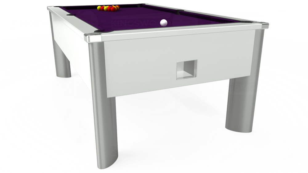 7ft Monarch Fusion Free Play Pool Table in White with Hainsworth Elite-Pro Purple cloth delivered and installed - £1,300.00