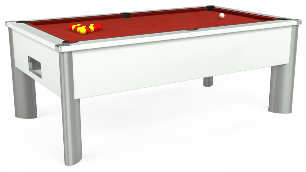 7ft Monarch Fusion Free Play Pool Table in White with Hainsworth Elite-Pro Red cloth delivered and installed - £1,300.00