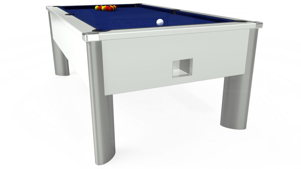 7ft Monarch Fusion Free Play Pool Table in White with Hainsworth Elite-Pro Royal Blue cloth delivered and installed - £1,300.00