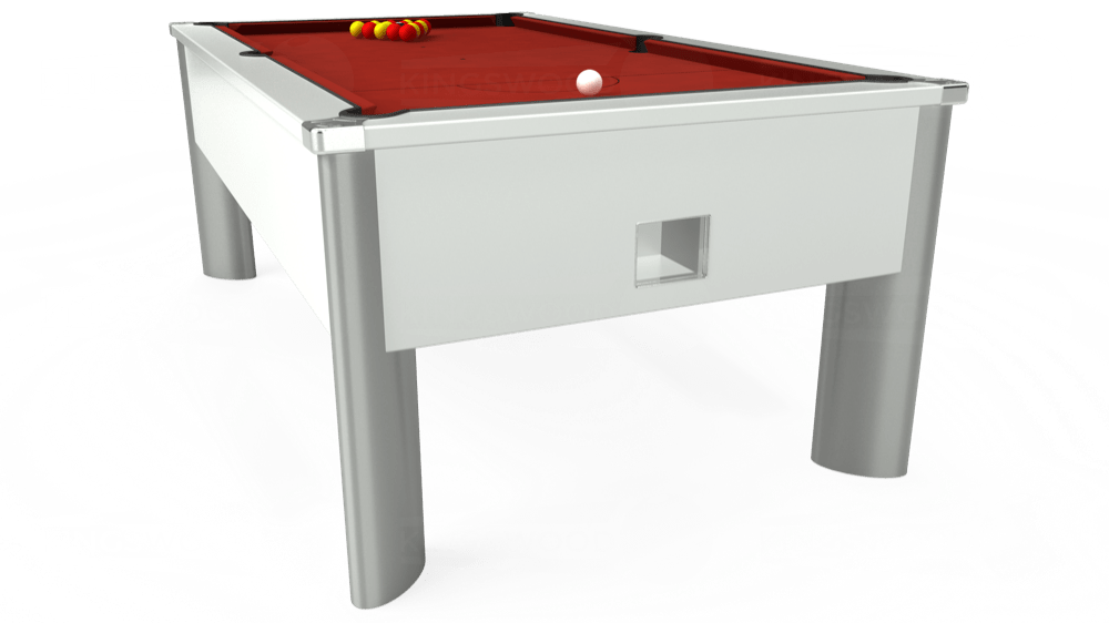 7ft Monarch Fusion Free Play Pool Table in White with Hainsworth Smart Cherry cloth delivered and installed - £1,300.00