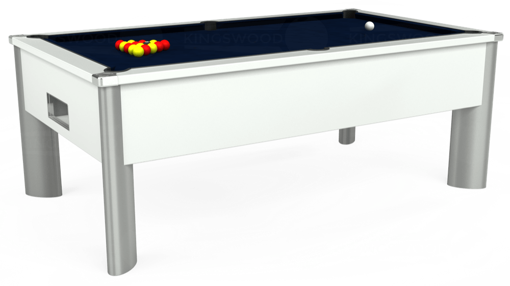 7ft Monarch Fusion Free Play Pool Table in White with Hainsworth Smart French Navy cloth delivered and installed - £1,300.00