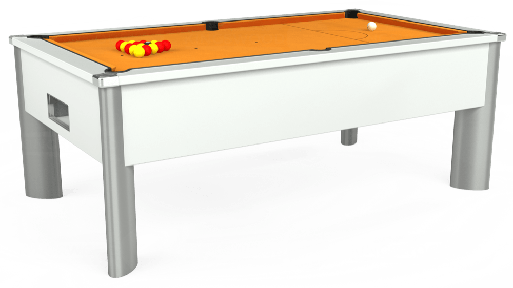 7ft Monarch Fusion Free Play Pool Table in White with Hainsworth Smart Gold cloth delivered and installed - £1,300.00