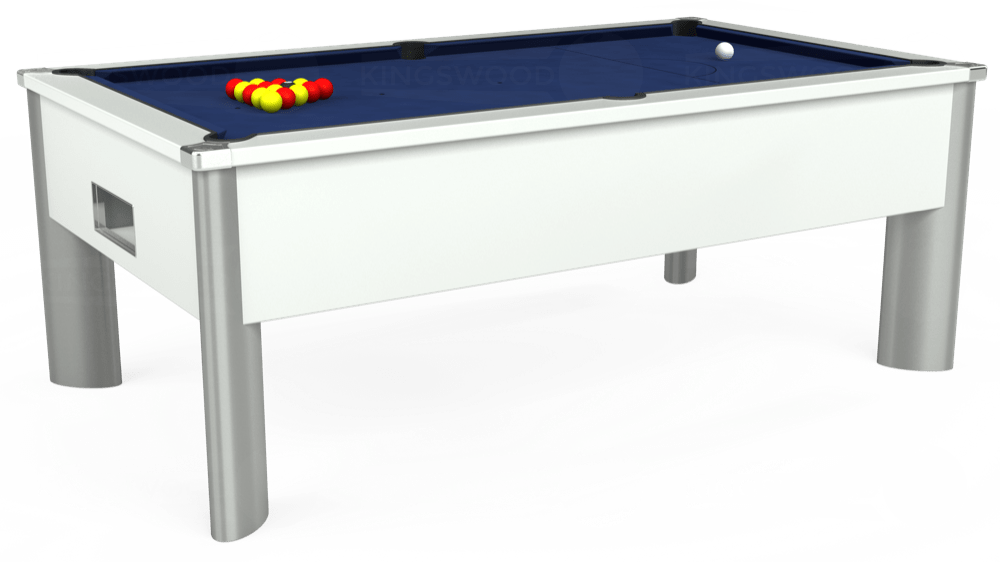 7ft Monarch Fusion Free Play Pool Table in White with Hainsworth Smart Royal Navy cloth delivered and installed - £1,300.00