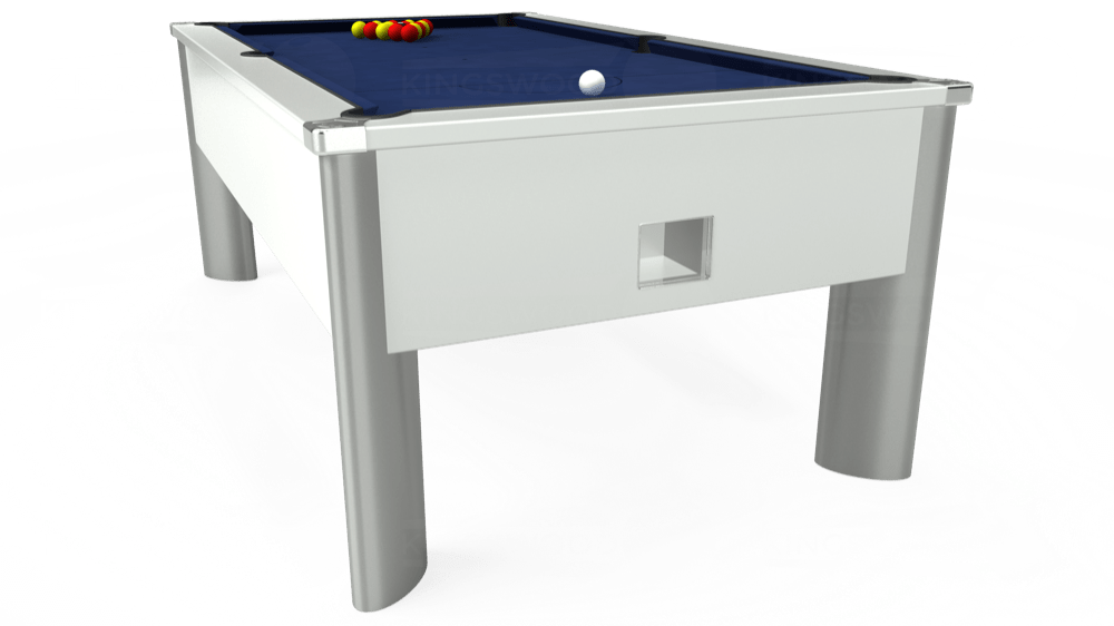 7ft Monarch Fusion Free Play Pool Table in White with Hainsworth Smart Navy cloth delivered and installed - £1,300.00