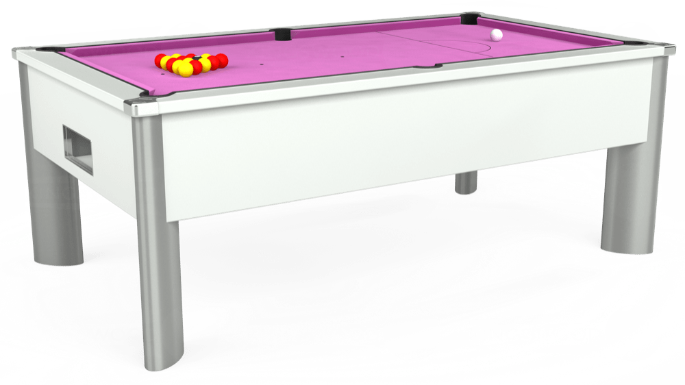 7ft Monarch Fusion Free Play Pool Table in White with Hainsworth Smart Pink cloth delivered and installed - £1,300.00