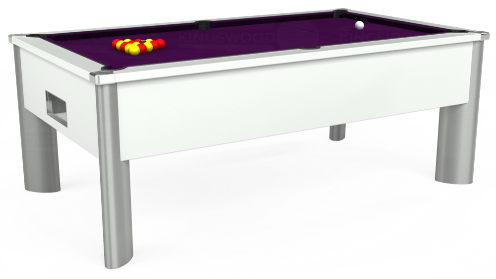 7ft Monarch Fusion Free Play Pool Table in White with Hainsworth Smart Purple cloth delivered and installed - £1,300.00