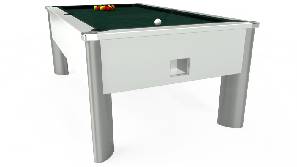 7ft Monarch Fusion Free Play Pool Table in White with Hainsworth Smart Ranger Green cloth delivered and installed - £1,300.00