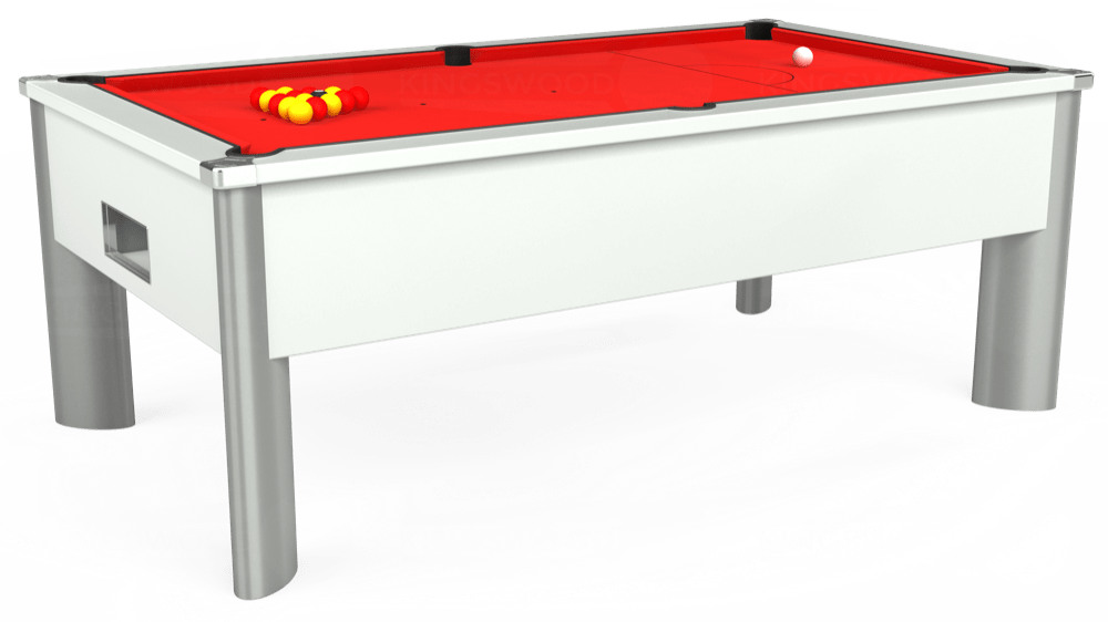 7ft Monarch Fusion Free Play Pool Table in White with Hainsworth Smart Red cloth delivered and installed - £1,300.00