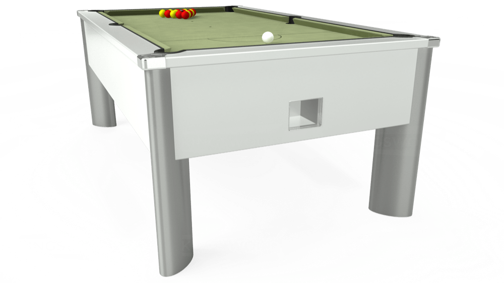 7ft Monarch Fusion Free Play Pool Table in White with Hainsworth Smart Sage cloth delivered and installed - £1,300.00