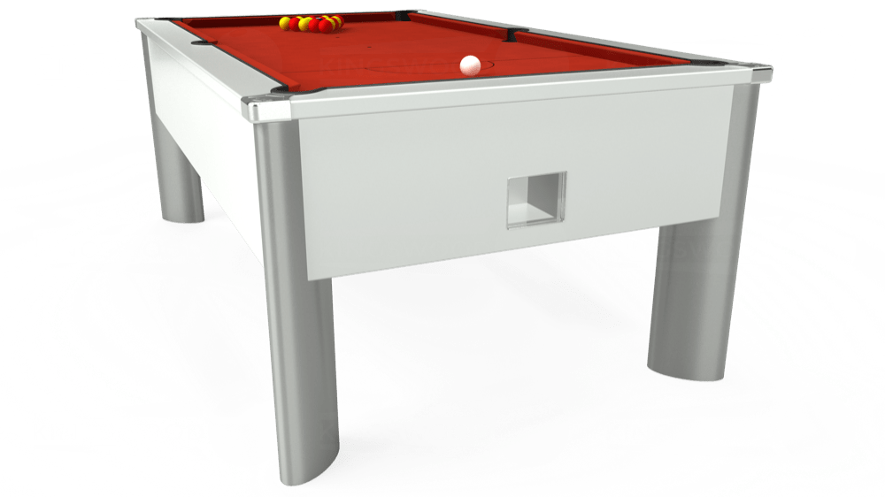 7ft Monarch Fusion Free Play Pool Table in White with Hainsworth Smart Windsor Red cloth delivered and installed - £1,150.00