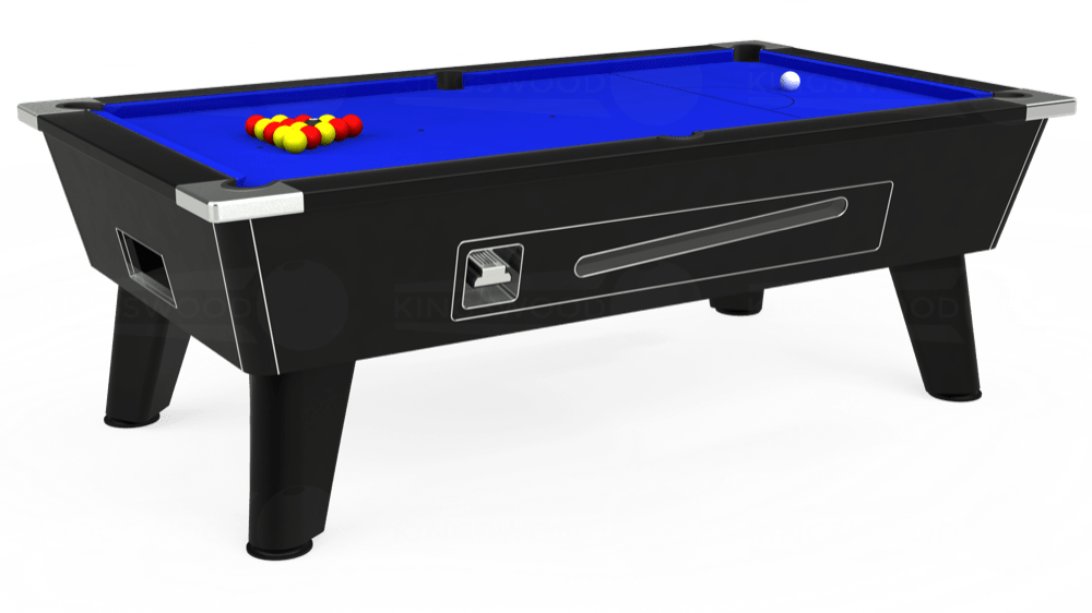 7ft Omega Coin Operated Pool Table in Black with Standard Blue cloth delivered and installed - £1,150.00
