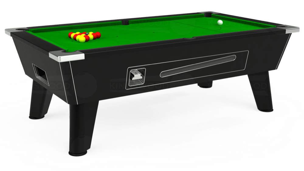 7ft Omega Coin Operated Pool Table in Black with Standard Green cloth delivered and installed - £1,150.00