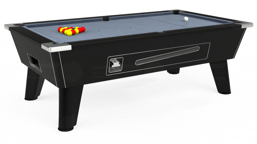 7ft Omega Coin Operated Pool Table in Black with Hainsworth Elite-Pro Bankers Grey cloth delivered and installed - £1,150.00