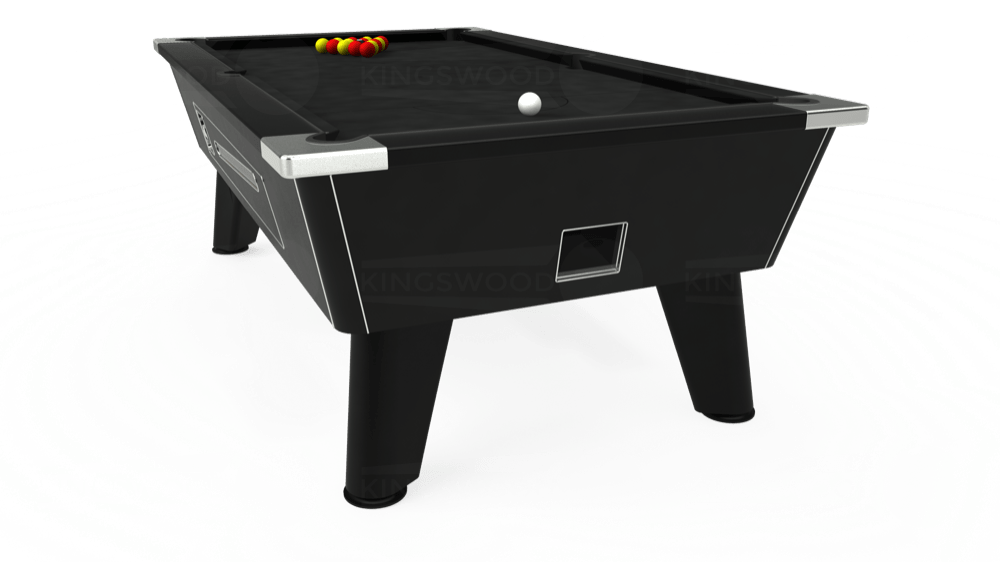 7ft Omega Coin Operated Pool Table in Black with Hainsworth Elite-Pro Black cloth delivered and installed - £1,250.00