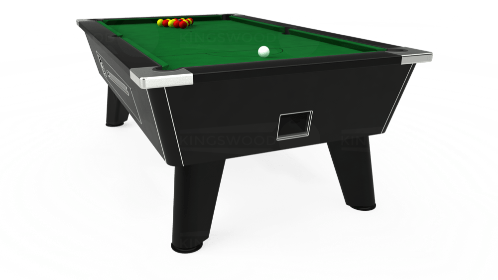 7ft Omega Coin Operated Pool Table in Black with Hainsworth Elite-Pro English Green cloth delivered and installed - £1,150.00