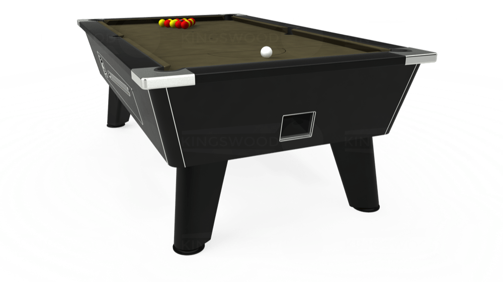 7ft Omega Coin Operated Pool Table in Black with Hainsworth Elite-Pro Olive cloth delivered and installed - £1,250.00