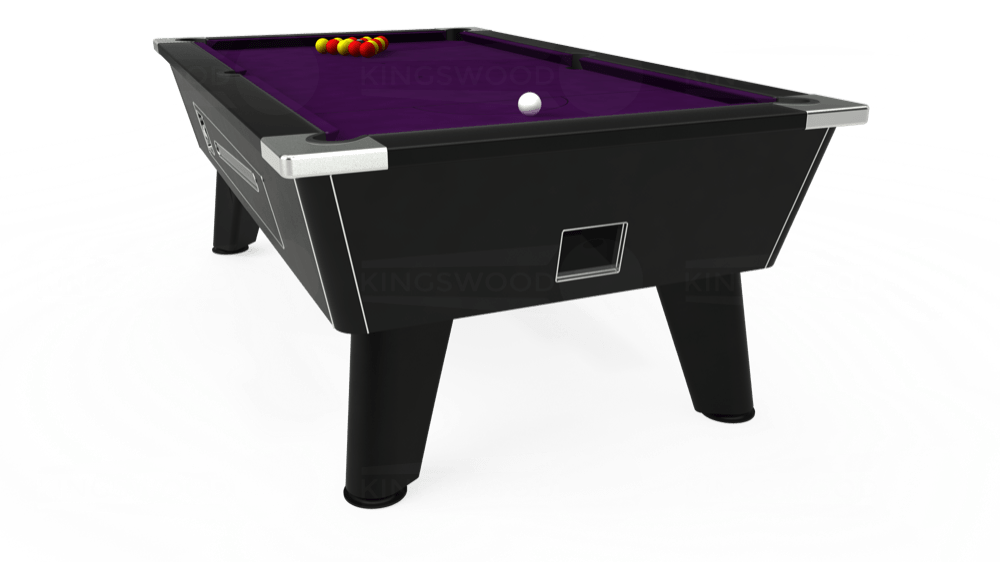 7ft Omega Coin Operated Pool Table in Black with Hainsworth Elite-Pro Purple cloth delivered and installed - £1,250.00