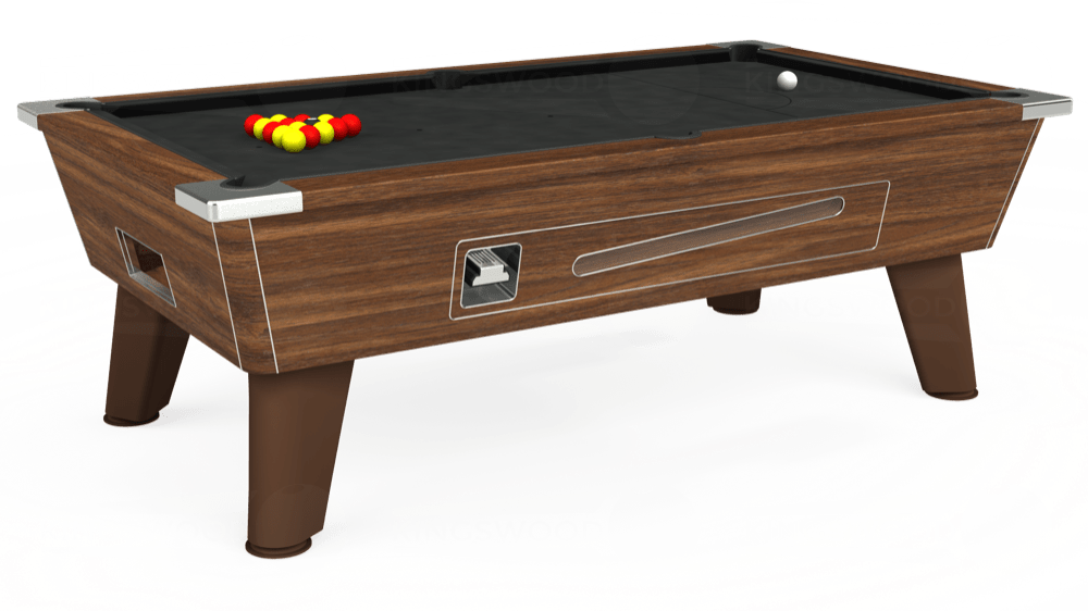 7ft Omega Coin Operated Pool Table in Dark Walnut with Standard Black cloth delivered and installed - £1,150.00