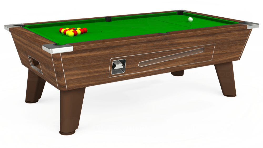 7ft Omega Coin Operated Pool Table in Dark Walnut with Standard Green cloth delivered and installed - £1,150.00