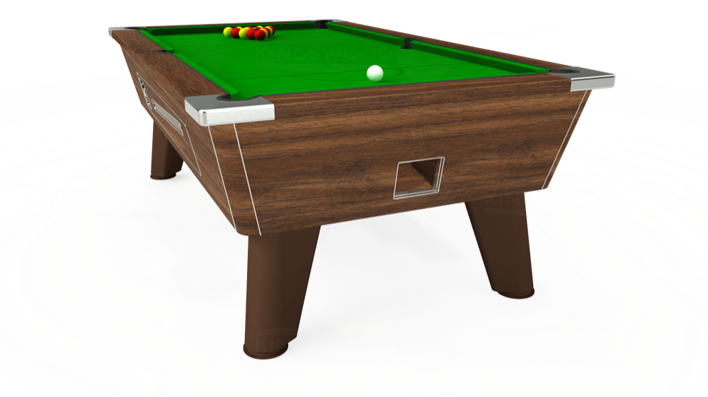 7ft Omega Coin Operated Pool Table in Dark Walnut with Standard Green cloth delivered and installed - £1,025.00