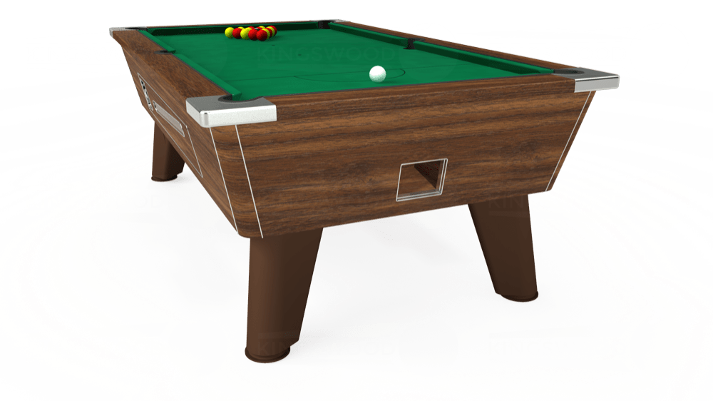 7ft Omega Coin Operated Pool Table in Dark Walnut with Hainsworth Elite-Pro American Green cloth delivered and installed - £1,250.00