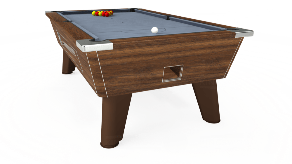 7ft Omega Coin Operated Pool Table in Dark Walnut with Hainsworth Elite-Pro Bankers Grey cloth delivered and installed - £1,150.00