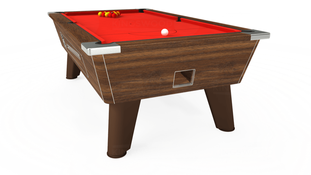 7ft Omega Coin Operated Pool Table in Dark Walnut with Hainsworth Elite-Pro Bright Red cloth delivered and installed - £1,250.00