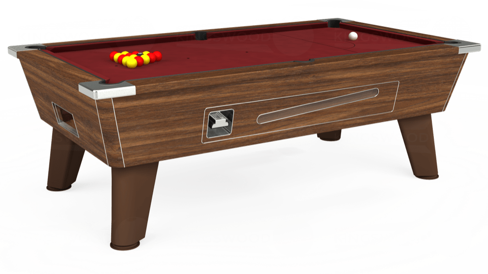 7ft Omega Coin Operated Pool Table in Dark Walnut with Hainsworth Elite-Pro Burgundy cloth delivered and installed - £1,250.00