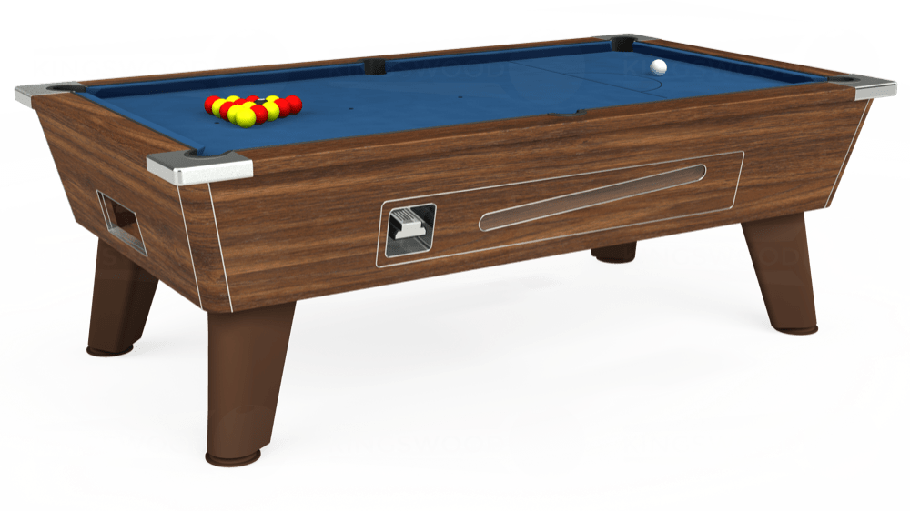 7ft Omega Coin Operated Pool Table in Dark Walnut with Hainsworth Elite-Pro Cadet Blue cloth delivered and installed - £1,250.00
