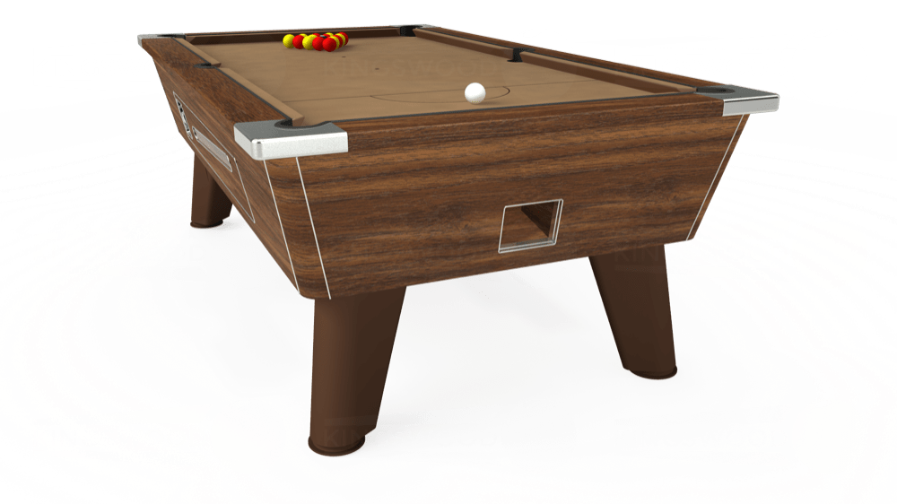 7ft Omega Coin Operated Pool Table in Dark Walnut with Hainsworth Elite-Pro Camel cloth delivered and installed - £1,250.00