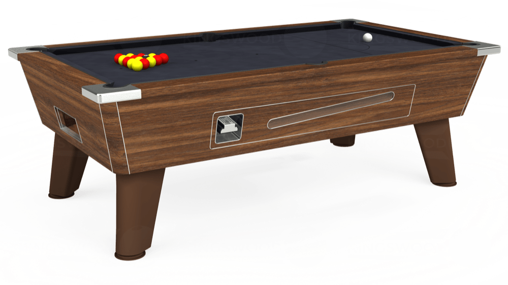 7ft Omega Coin Operated Pool Table in Dark Walnut with Hainsworth Elite-Pro Charcoal cloth delivered and installed - £1,250.00