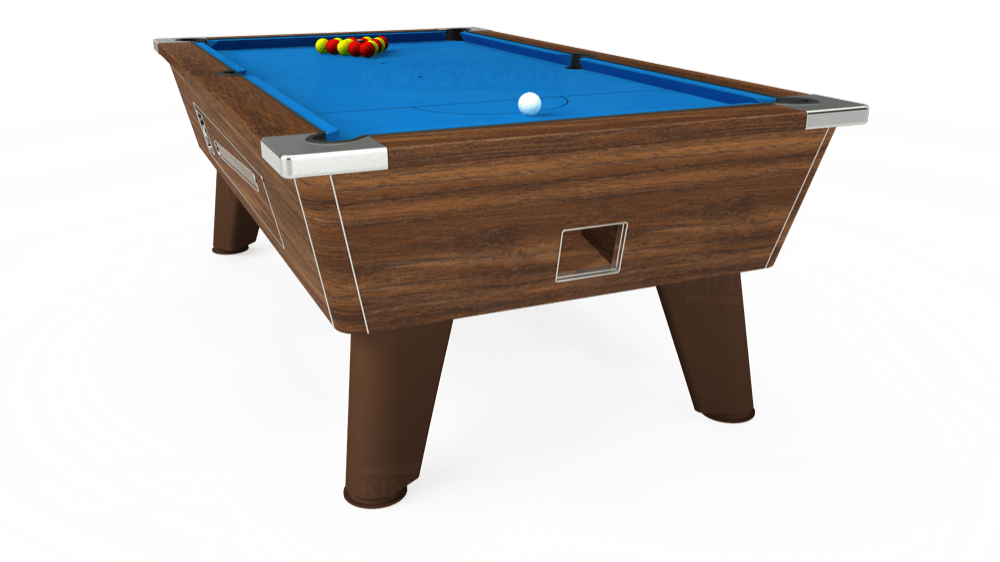 7ft Omega Coin Operated Pool Table in Dark Walnut with Hainsworth Elite-Pro Electric Blue cloth delivered and installed - £1,250.00