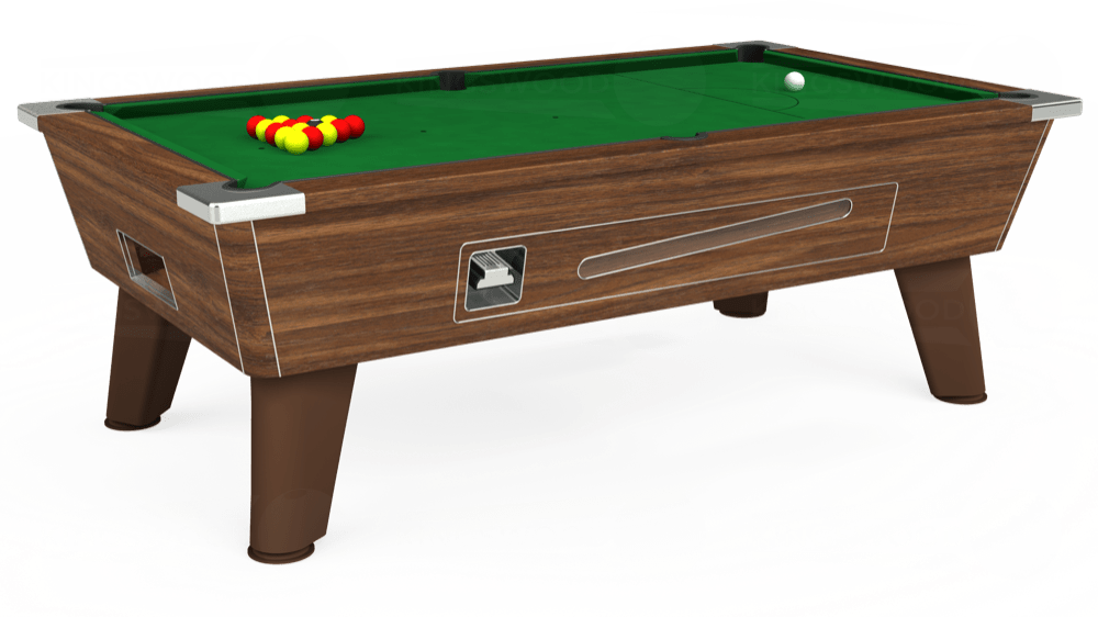 7ft Omega Coin Operated Pool Table in Dark Walnut with Hainsworth Elite-Pro English Green cloth delivered and installed - £1,150.00