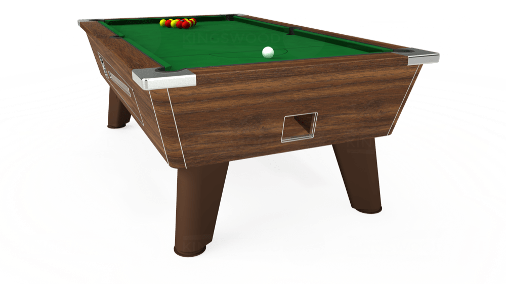 7ft Omega Coin Operated Pool Table in Dark Walnut with Hainsworth Elite-Pro English Green cloth delivered and installed - £1,250.00