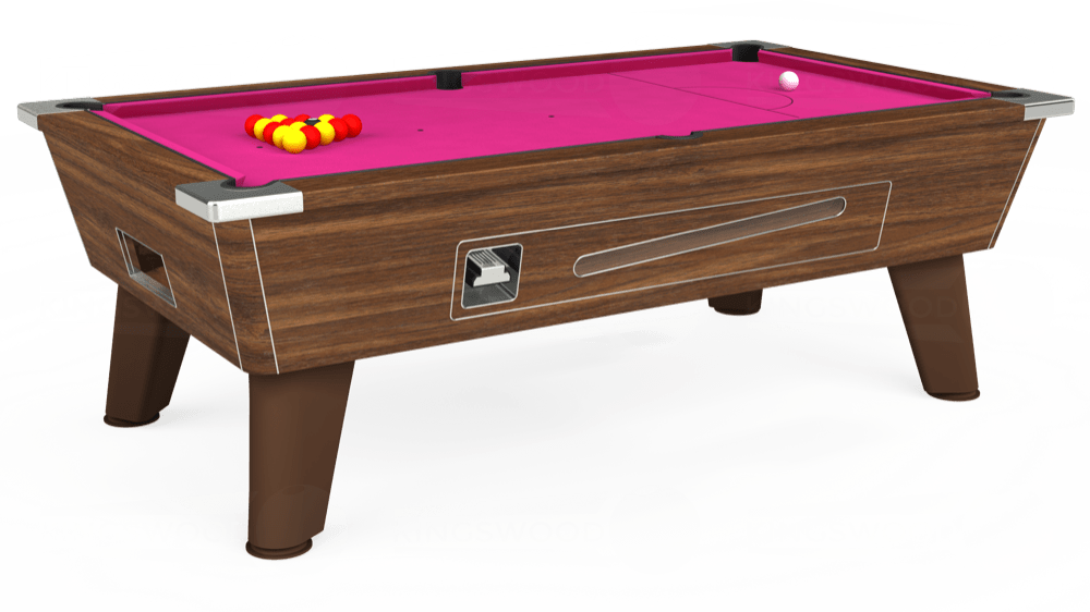 7ft Omega Coin Operated Pool Table in Dark Walnut with Hainsworth Elite-Pro Fuchsia cloth delivered and installed - £1,250.00