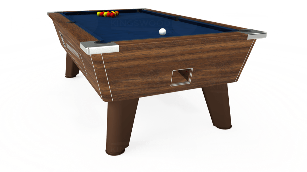 7ft Omega Coin Operated Pool Table in Dark Walnut with Hainsworth Elite-Pro Marine Blue cloth delivered and installed - £1,250.00
